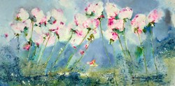 Peace Flowers I by Emilija Pasagic - Original Painting on Box Canvas sized 60x30 inches. Available from Whitewall Galleries